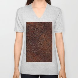 Burnished Rich Brown Tooled Leather Unisex V-Neck