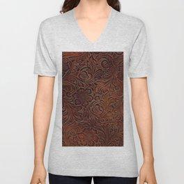 Burnished Rich Brown Tooled Leather Unisex V-Neck