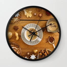 Christmas decoration on wood Wall Clock