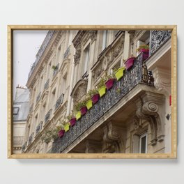 Paris side street downtown flower pots Serving Tray