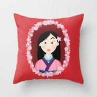 mulan Throw Pillows featuring Mulan  by Joey Ellson
