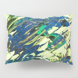 Fluid Acrylic Painting Multi Color Glitch Wave Effect Lime Yellow Green Blue Pillow Sham