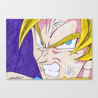 dbz Canvas Prints featuring Goku DBZ by DeMoose_Art