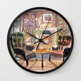 Cozy Rustic Pub with Fireplace and a XMAS Harbour View Wall Clock