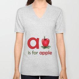 a is for apple, children alphabet for kids room and nursery Unisex V-Neck