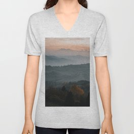 Hazy Mountains - Landscape and Nature Photography Unisex V-Neck