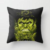 hulk Throw Pillows featuring HULK by dan elijah g. fajardo
