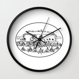 Women Gathering Wheat Outside Walled City Retro Wall Clock