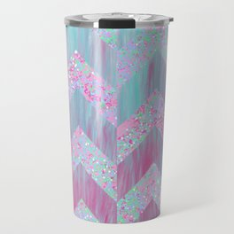 Geometrical pink teal watercolor splatters brushstrokes chevron Travel Mug