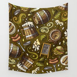 Beer Cheese Burgers Wall Tapestry