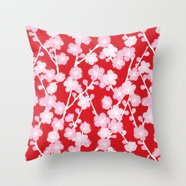Red Cherry Blossom Pattern Throw Pillow