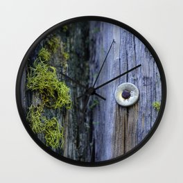 Lichen and Metal Wall Clock