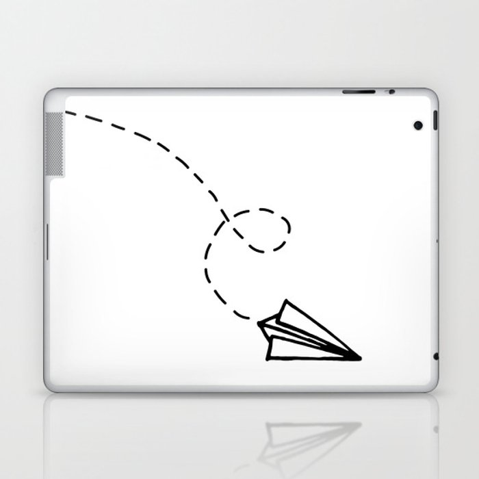 Send It Simple Paper Airplane Drawing Laptop Ipad Skin By
