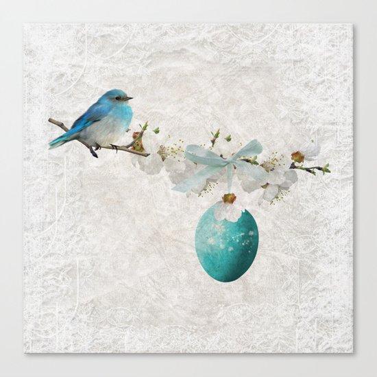 Blue bird & egg Canvas Print