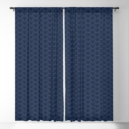 Japanese Blue Wave Seigaiha Indigo Super Moon Pattern Blackout Curtain
