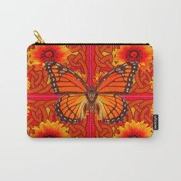 Monarch Butterflies  Red-Orange Sunflowers Celtic Art Carry-All Pouch