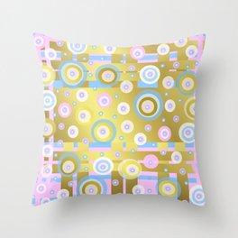 Gold, Rose, Blue, retro pattern, balls, stripes, shiny Throw Pillow