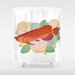 Arowana and peony 3 Shower Curtain
