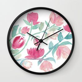 Lovely spring floral fantasty watercolor Wall Clock