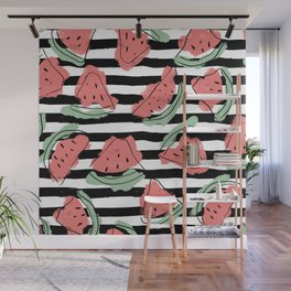 Geometric Artsy Watercolor Coral Mint Black Watermelon Wall Mural