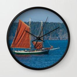 Sailing Ship off Coast of Maine Wall Clock
