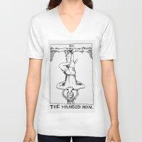 tarot V-neck T-shirts featuring Tarot XII by Shaina Stern