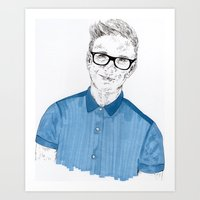 tyler oakley Art Prints featuring Tyler Oakley by Sophie Melissa