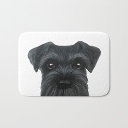 New Black Schnauzer, Dog illustration original painting print Bath Mat