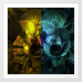 Deux Roses - Sparkling blue and yellow Rose Art Print