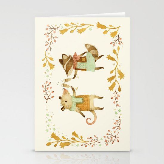 Cheers! From Pinknose the Opossum & Riley the Raccoon Stationery Cards