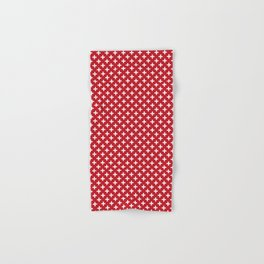 Criss Cross | Plus Sign | Red and White Hand & Bath Towel
