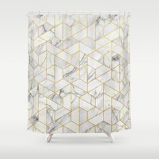 Marble hexagonal pattern Shower Curtain