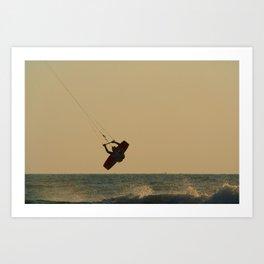 Kite Surfer Jumping Mandrem Art Print