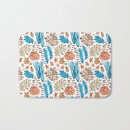 Coral Reef Watercolor Pattern- Teal Bath Mat