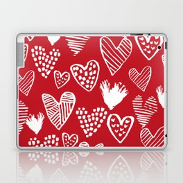 Herats red and white pattern minimal valentines day cute girly gifts hand drawn love patterns Laptop & iPad Skin