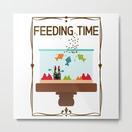 Feeding Time - Fish In The Aquarium Metal Print