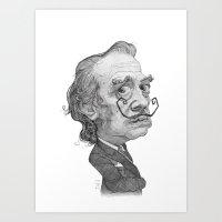 salvador dali Art Prints featuring Salvador Dali by Stavros Damos