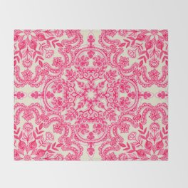Hot Pink & Soft Cream Folk Art Pattern Throw Blanket