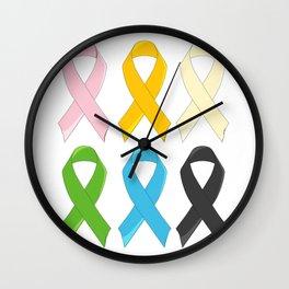 SIx Awareness Ribbons Wall Clock