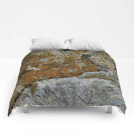 Cornish Headland Cracked Rock Texture with Lichen Comforters