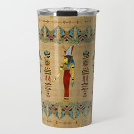 Egyptian Mut Ornament on papyrus Travel Mug