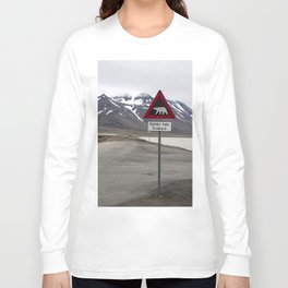 Polar bears traffic sign in Svalbard Long Sleeve T-shirt