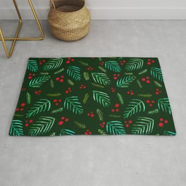 Christmas tree branches and berries - green Rug