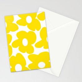 Large Yellow Retro Flowers on White Background #decor #society6 #buyart Stationery Cards