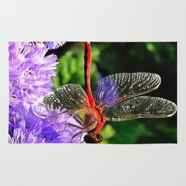 Red Dragonfly on Violet Purple Flowers Rug