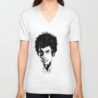 bob dylan V-neck T-shirts featuring Bob Dylan by Giorgia Ruggeri
