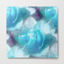 Turquoise abstracted tulips Metal Print