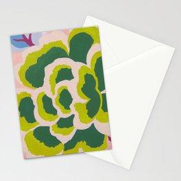 Big Japanese Flower On Pink Background Stationery Cards