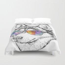 Husky Dog Graphic Art Print. Husky in glasses Duvet Cover
