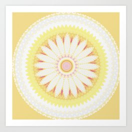 Sunshine Yellow Flower Mandala Abstract Art Print